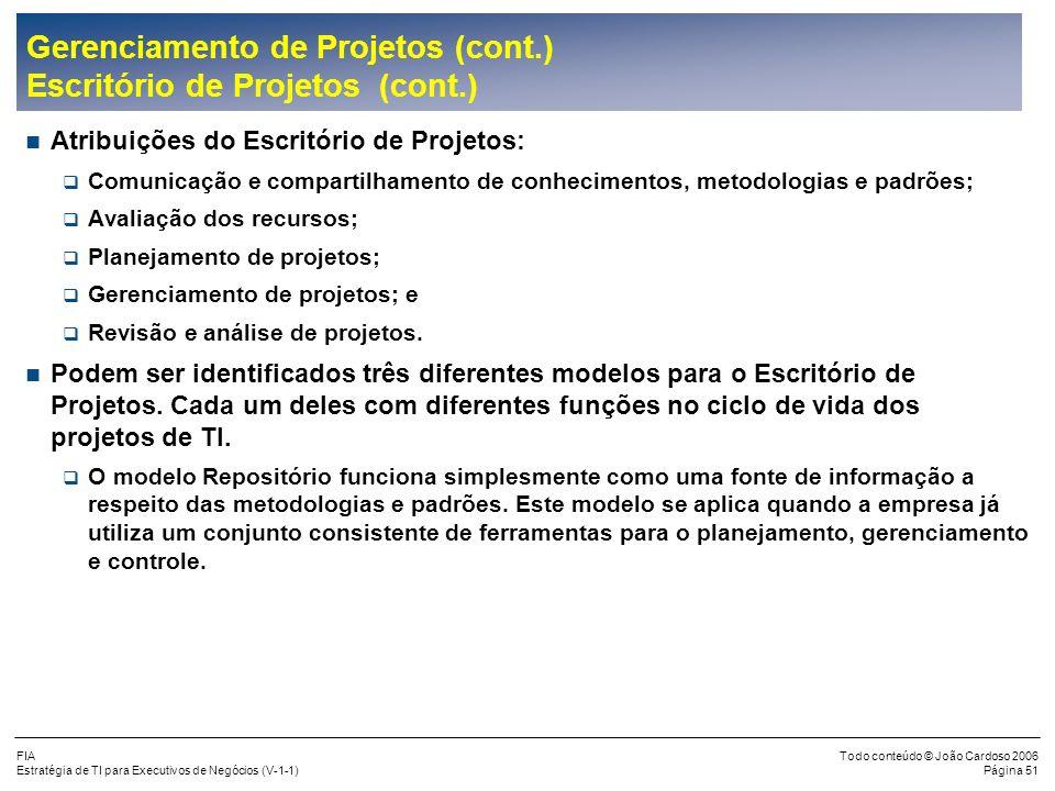 FIA Estratégia de TI para Executivos de Negócios (V-1-1) Todo conteúdo © João Cardoso 2006 Página 50 Gerenciamento de Projetos (cont.) Escritório de P