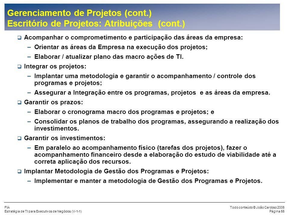 FIA Estratégia de TI para Executivos de Negócios (V-1-1) Todo conteúdo © João Cardoso 2006 Página 54 Gerenciamento de Projetos (cont.) Escritório de P