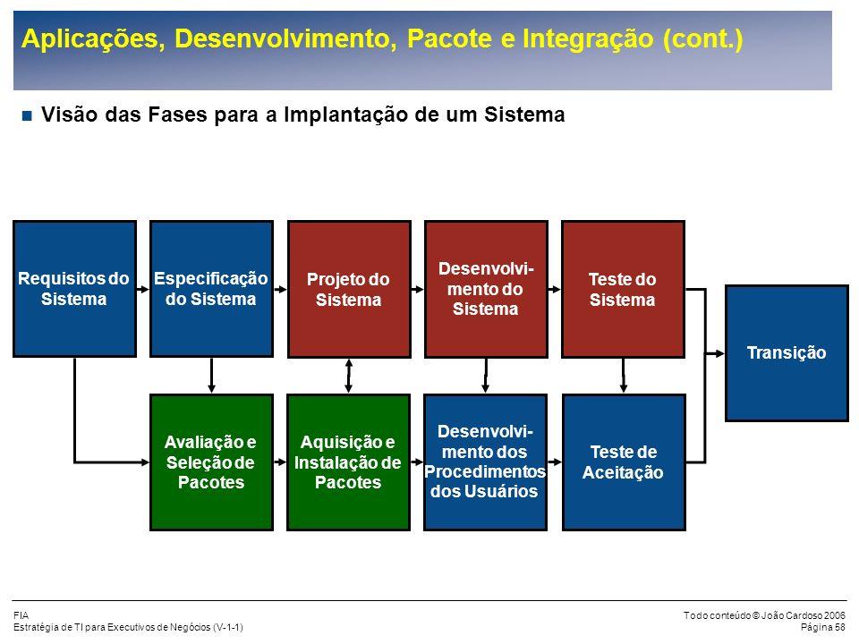 FIA Estratégia de TI para Executivos de Negócios (V-1-1) Todo conteúdo © João Cardoso 2006 Página 57 Aplicações, Desenvolvimento, Pacote e Integração