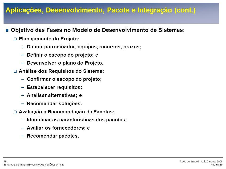 FIA Estratégia de TI para Executivos de Negócios (V-1-1) Todo conteúdo © João Cardoso 2006 Página 58 Aplicações, Desenvolvimento, Pacote e Integração
