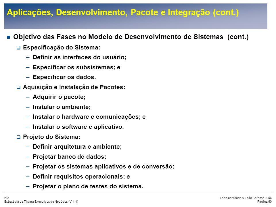 FIA Estratégia de TI para Executivos de Negócios (V-1-1) Todo conteúdo © João Cardoso 2006 Página 59 Aplicações, Desenvolvimento, Pacote e Integração