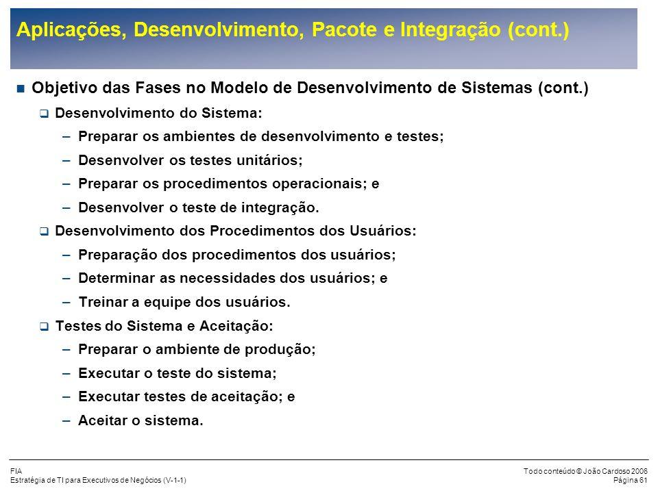 FIA Estratégia de TI para Executivos de Negócios (V-1-1) Todo conteúdo © João Cardoso 2006 Página 60 Aplicações, Desenvolvimento, Pacote e Integração
