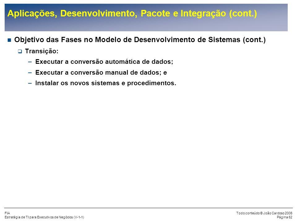 FIA Estratégia de TI para Executivos de Negócios (V-1-1) Todo conteúdo © João Cardoso 2006 Página 61 Aplicações, Desenvolvimento, Pacote e Integração