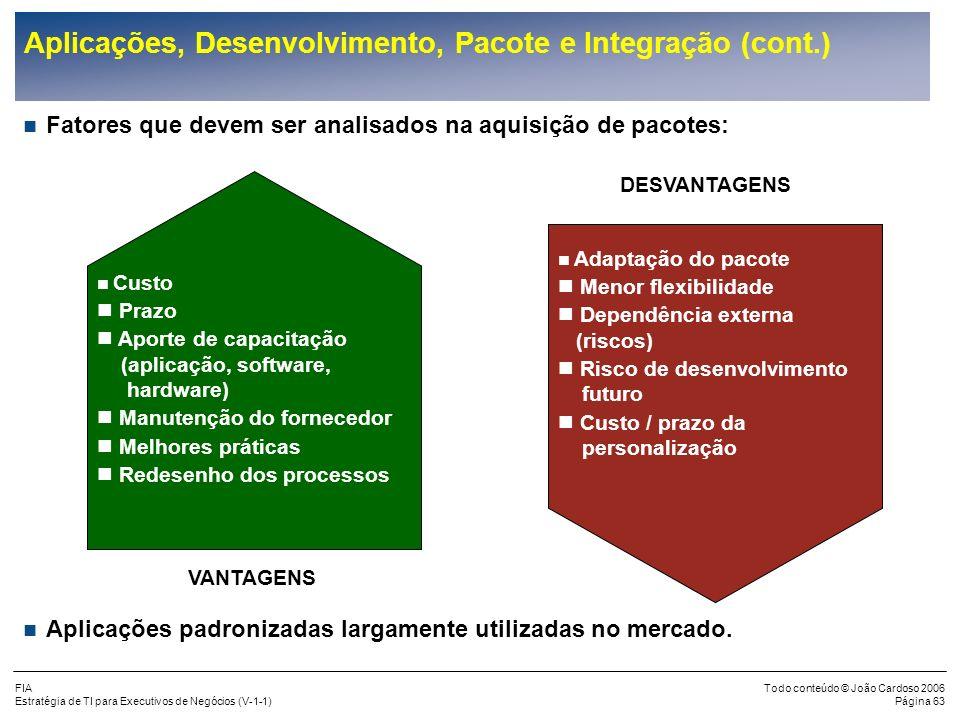 FIA Estratégia de TI para Executivos de Negócios (V-1-1) Todo conteúdo © João Cardoso 2006 Página 62 Aplicações, Desenvolvimento, Pacote e Integração