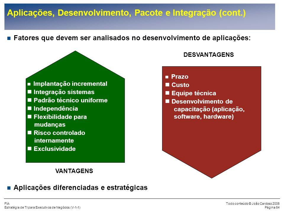 FIA Estratégia de TI para Executivos de Negócios (V-1-1) Todo conteúdo © João Cardoso 2006 Página 63 Aplicações, Desenvolvimento, Pacote e Integração