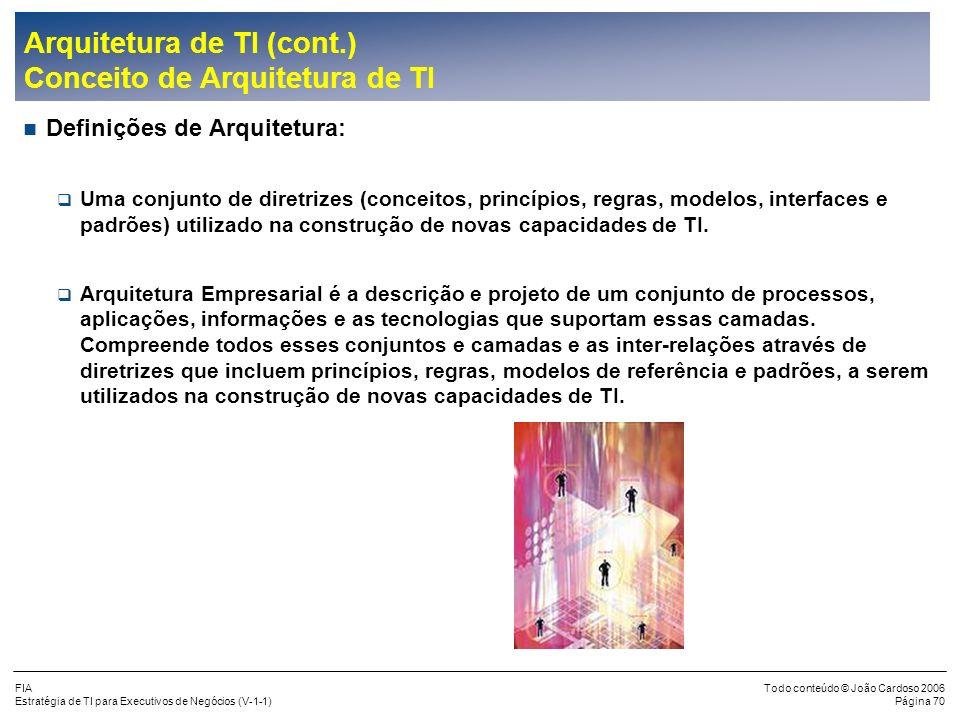 FIA Estratégia de TI para Executivos de Negócios (V-1-1) Todo conteúdo © João Cardoso 2006 Página 69 Missão da Empresa, Visão, Objetivos, FCSs Estraté