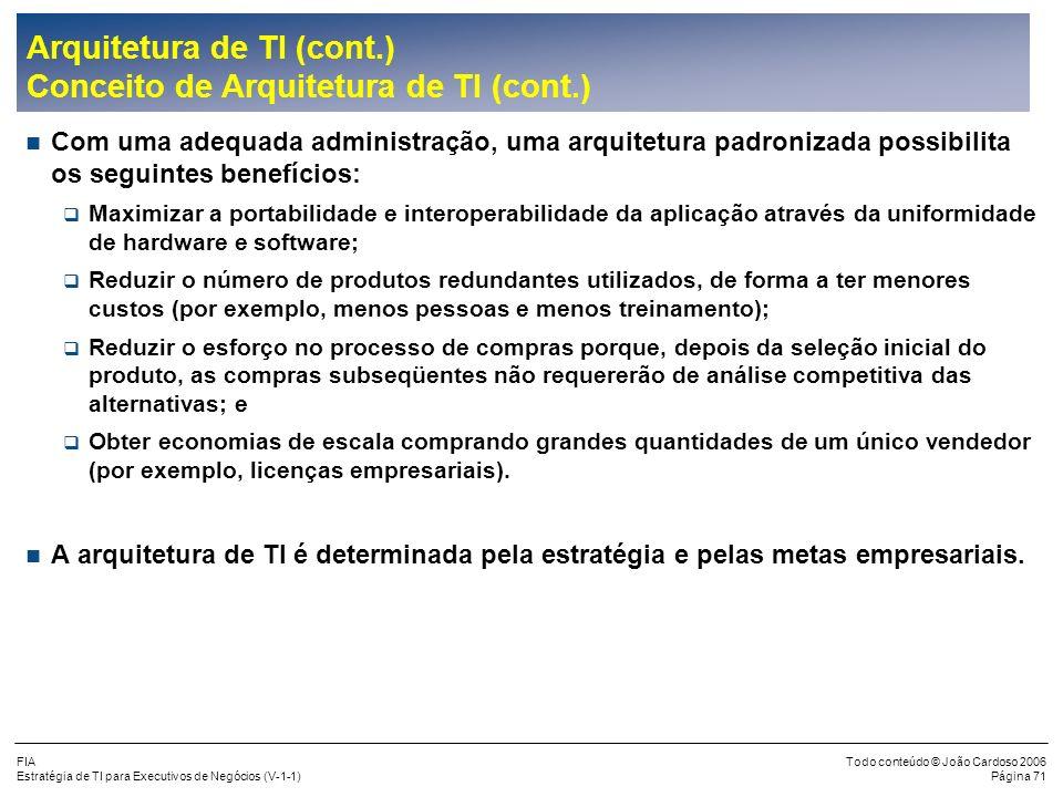 FIA Estratégia de TI para Executivos de Negócios (V-1-1) Todo conteúdo © João Cardoso 2006 Página 70 Arquitetura de TI (cont.) Conceito de Arquitetura