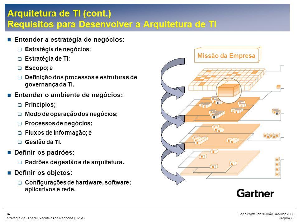 FIA Estratégia de TI para Executivos de Negócios (V-1-1) Todo conteúdo © João Cardoso 2006 Página 74 Arquitetura de TI (cont.) A Arquitetura Empresari