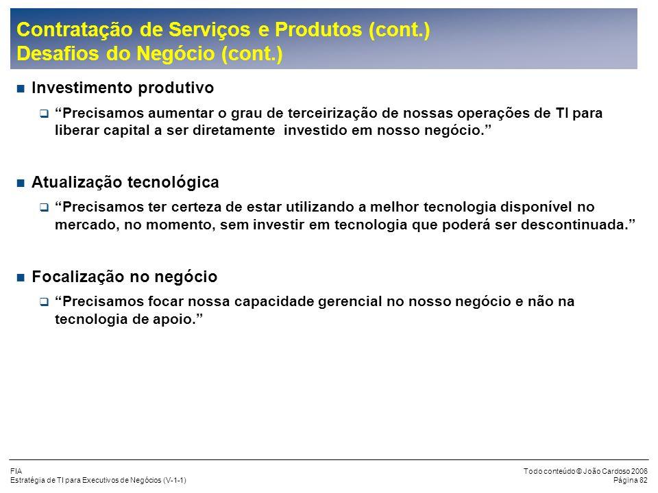 FIA Estratégia de TI para Executivos de Negócios (V-1-1) Todo conteúdo © João Cardoso 2006 Página 81 Contratação de Serviços e Produtos Desafios do Ne