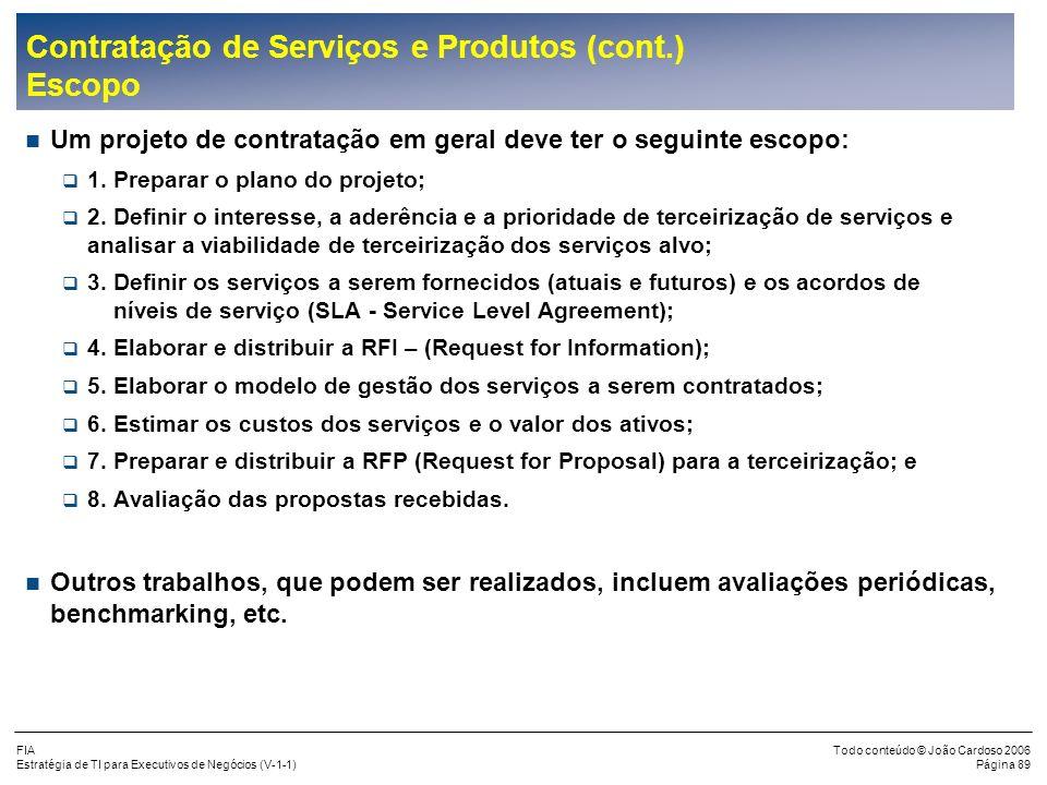 FIA Estratégia de TI para Executivos de Negócios (V-1-1) Todo conteúdo © João Cardoso 2006 Página 88 Contratação de Serviços e Produtos (cont.) Metodo