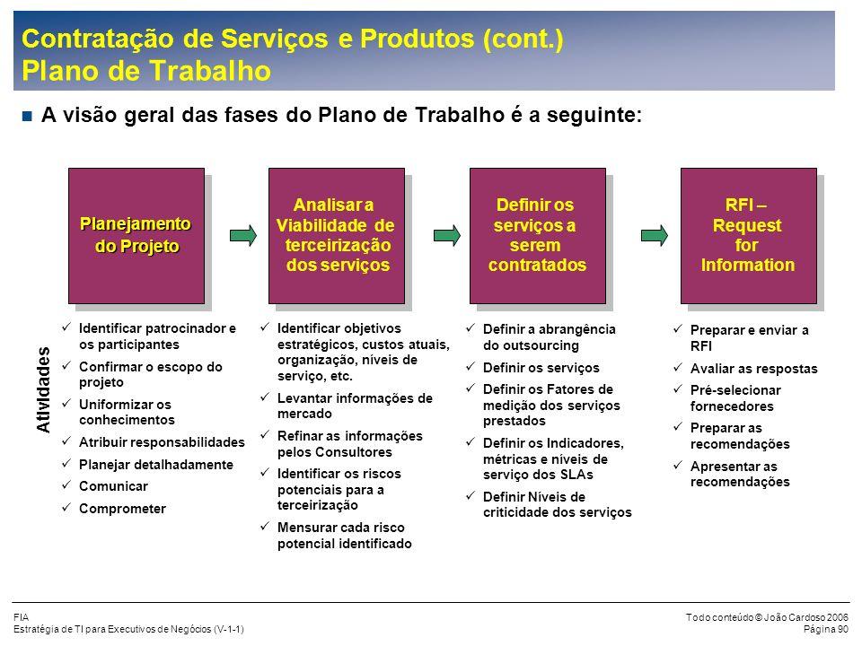 FIA Estratégia de TI para Executivos de Negócios (V-1-1) Todo conteúdo © João Cardoso 2006 Página 89 Contratação de Serviços e Produtos (cont.) Escopo