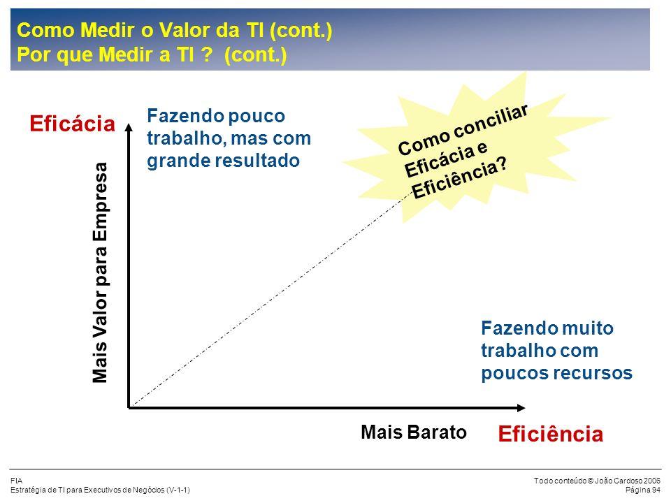 FIA Estratégia de TI para Executivos de Negócios (V-1-1) Todo conteúdo © João Cardoso 2006 Página 93 Como Medir o Valor da TI Por que Medir a TI ? Efi