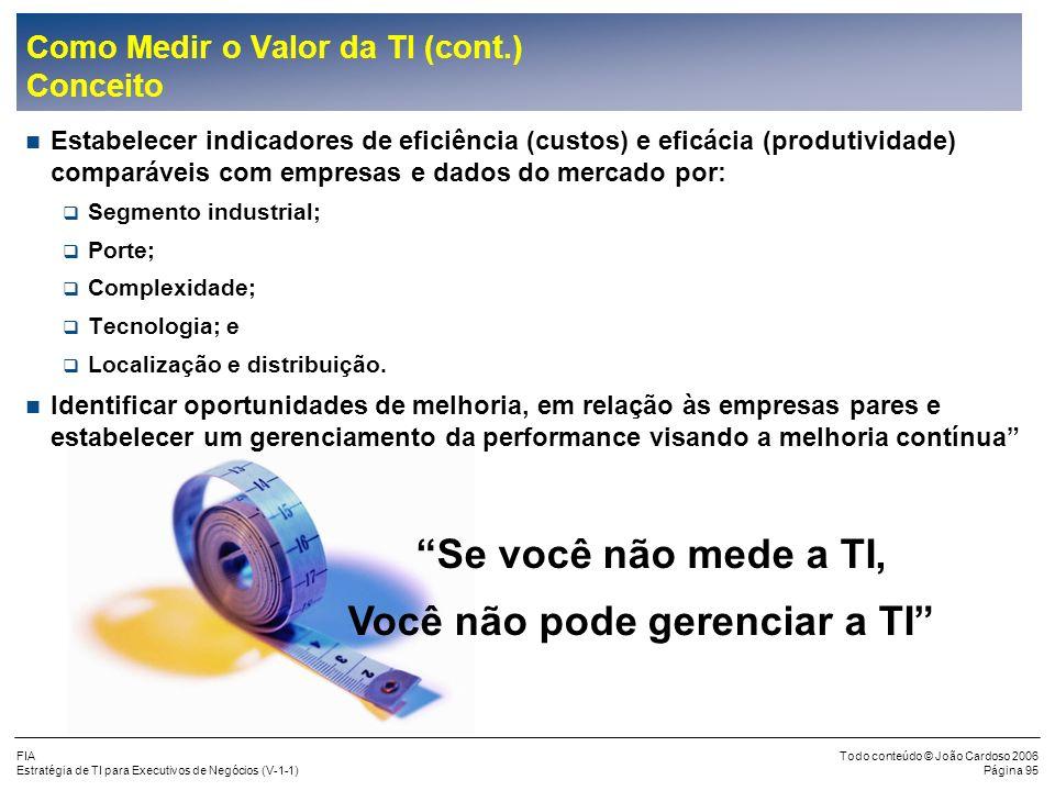 FIA Estratégia de TI para Executivos de Negócios (V-1-1) Todo conteúdo © João Cardoso 2006 Página 94 Eficácia Eficiência Mais Barato Mais Valor para E