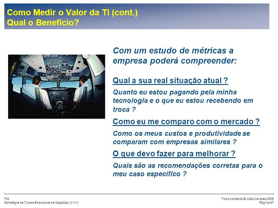 FIA Estratégia de TI para Executivos de Negócios (V-1-1) Todo conteúdo © João Cardoso 2006 Página 96 Como Medir o Valor da TI (cont.) Exemplos de Indi