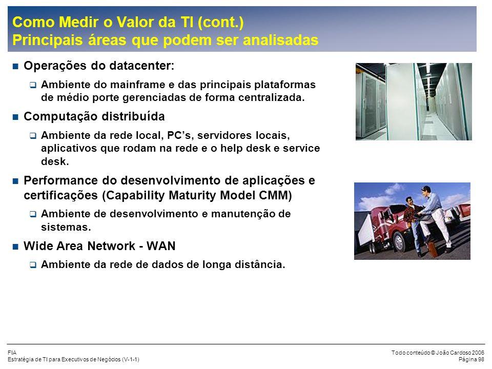 FIA Estratégia de TI para Executivos de Negócios (V-1-1) Todo conteúdo © João Cardoso 2006 Página 97 Com um estudo de métricas a empresa poderá compre