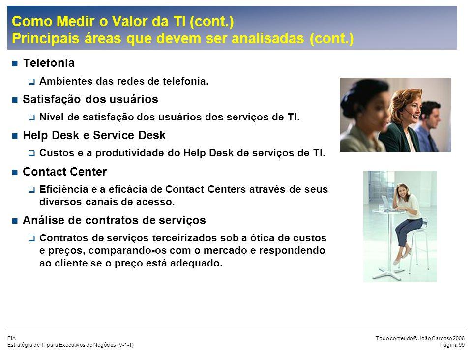FIA Estratégia de TI para Executivos de Negócios (V-1-1) Todo conteúdo © João Cardoso 2006 Página 98 Como Medir o Valor da TI (cont.) Principais áreas