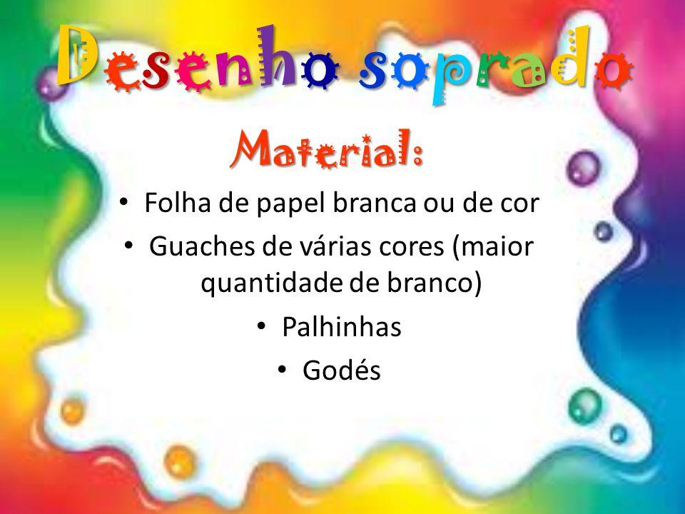 Desenho soprado Material: Folha de papel branca ou de cor Guaches de várias cores (maior quantidade de branco) Palhinhas Godés