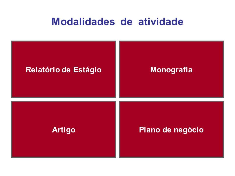 Modalidades de atividade Relatório de EstágioMonografia ArtigoPlano de negócio