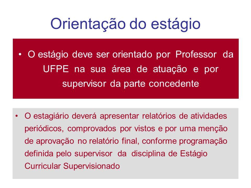 Orientação do estágio O estágio deve ser orientado por Professor da UFPE na sua área de atuação e por supervisor da parte concedente O estagiário deve