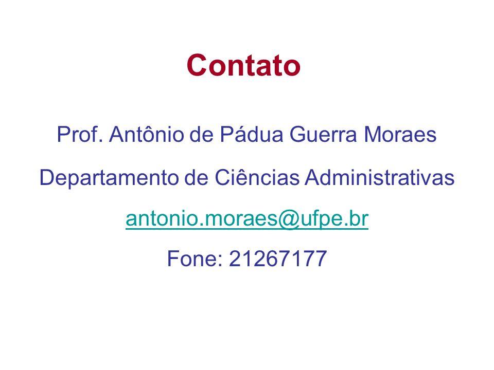 Contato Prof. Antônio de Pádua Guerra Moraes Departamento de Ciências Administrativas antonio.moraes@ufpe.br Fone: 21267177