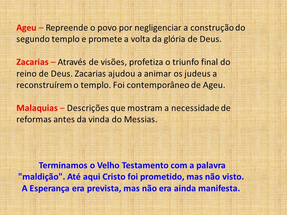 Ageu – Repreende o povo por negligenciar a construção do segundo templo e promete a volta da glória de Deus. Zacarias – Através de visões, profetiza o