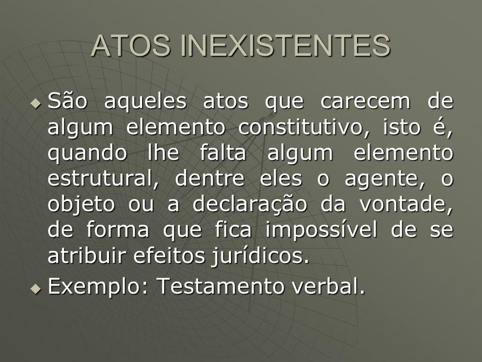 ATOS INEXISTENTES São aqueles atos que carecem de algum elemento constitutivo, isto é, quando lhe falta algum elemento estrutural, dentre eles o agent
