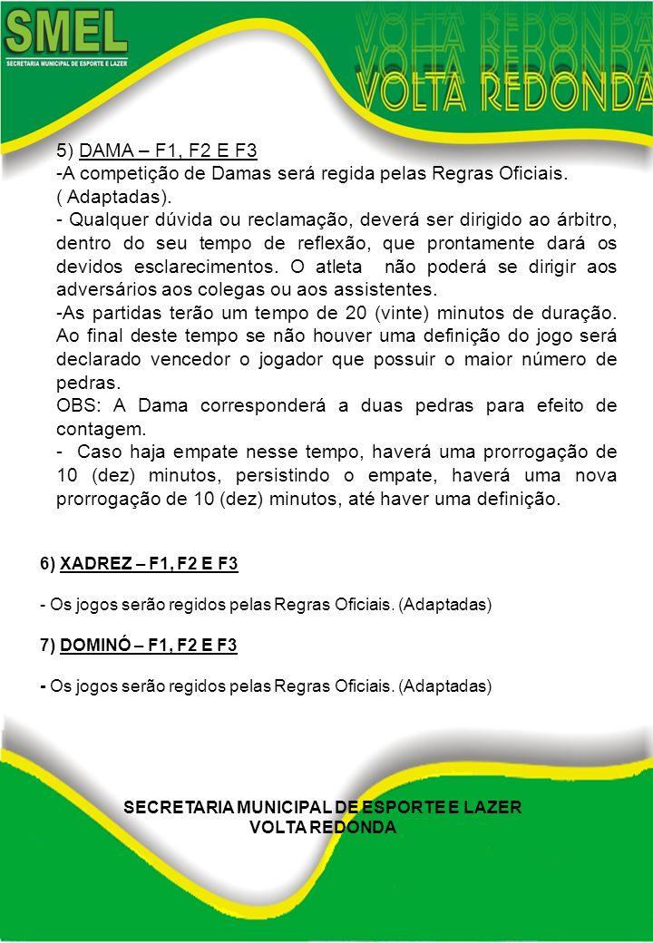 6) XADREZ – F1, F2 E F3 - Os jogos serão regidos pelas Regras Oficiais. (Adaptadas) 7) DOMINÓ – F1, F2 E F3 - Os jogos serão regidos pelas Regras Ofic