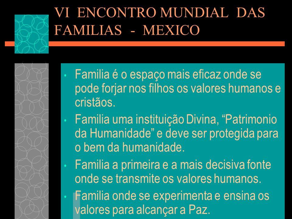 VI ENCONTRO MUNDIAL DAS FAMILIAS - MEXICO Familia é o espaço mais eficaz onde se pode forjar nos filhos os valores humanos e cristãos. Familia uma ins