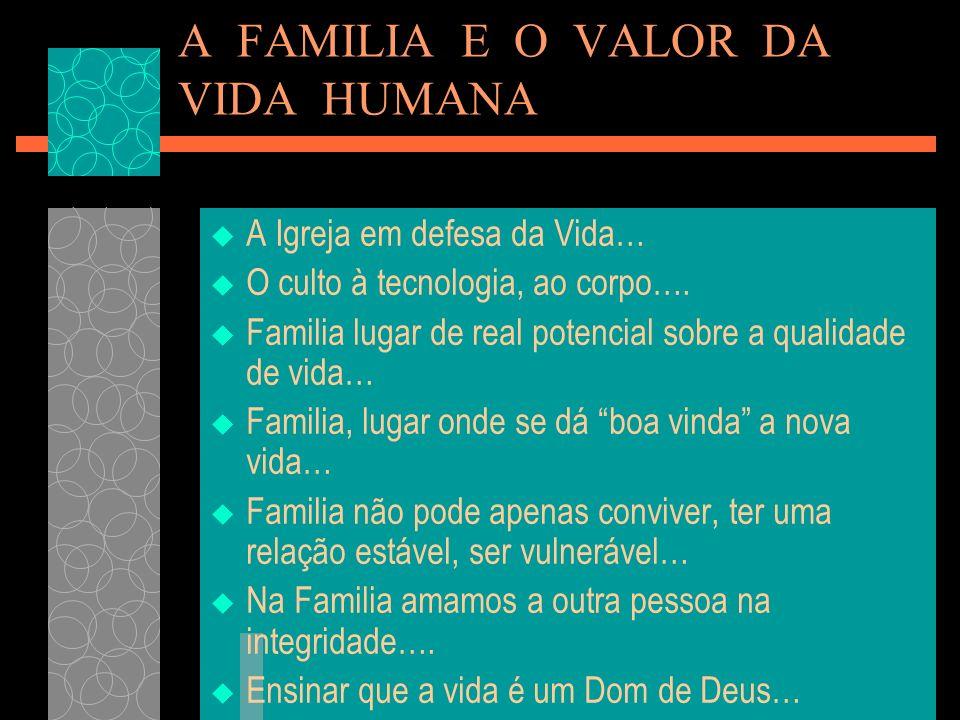 A FAMILIA E O VALOR DA VIDA HUMANA A Igreja em defesa da Vida… O culto à tecnologia, ao corpo…. Familia lugar de real potencial sobre a qualidade de v