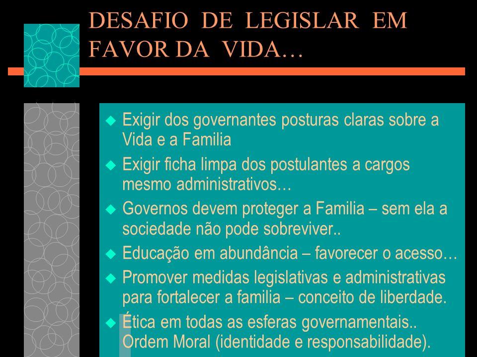 DESAFIO DE LEGISLAR EM FAVOR DA VIDA… Exigir dos governantes posturas claras sobre a Vida e a Familia Exigir ficha limpa dos postulantes a cargos mesm
