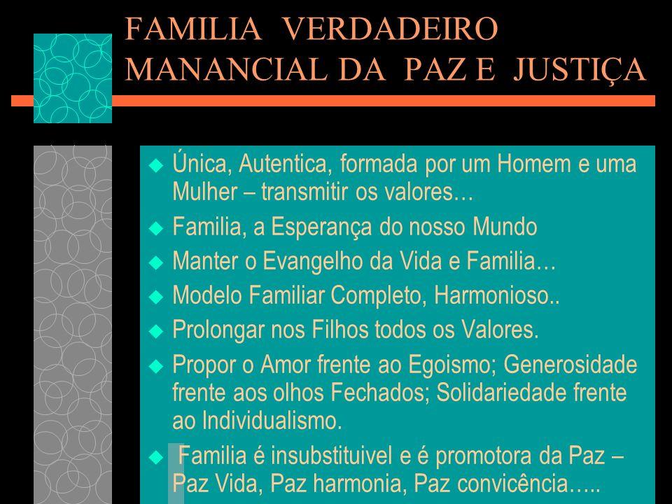 FAMILIA VERDADEIRO MANANCIAL DA PAZ E JUSTIÇA Única, Autentica, formada por um Homem e uma Mulher – transmitir os valores… Familia, a Esperança do nos