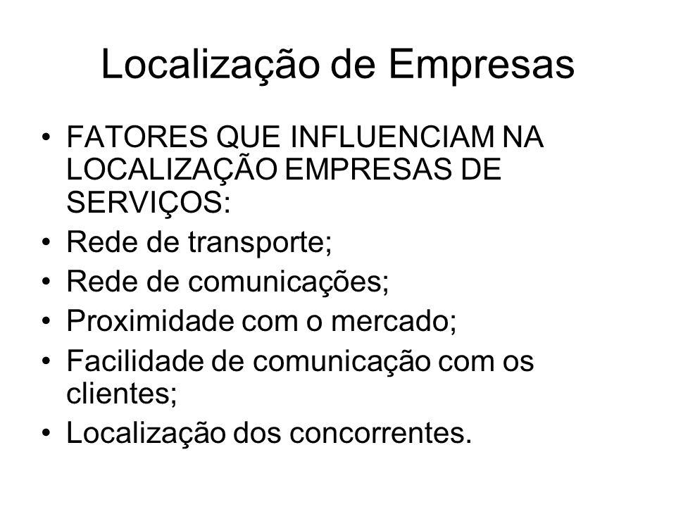 Localização de Empresas FATORES QUE INFLUENCIAM NA LOCALIZAÇÃO EMPRESAS DE SERVIÇOS: Rede de transporte; Rede de comunicações; Proximidade com o merca