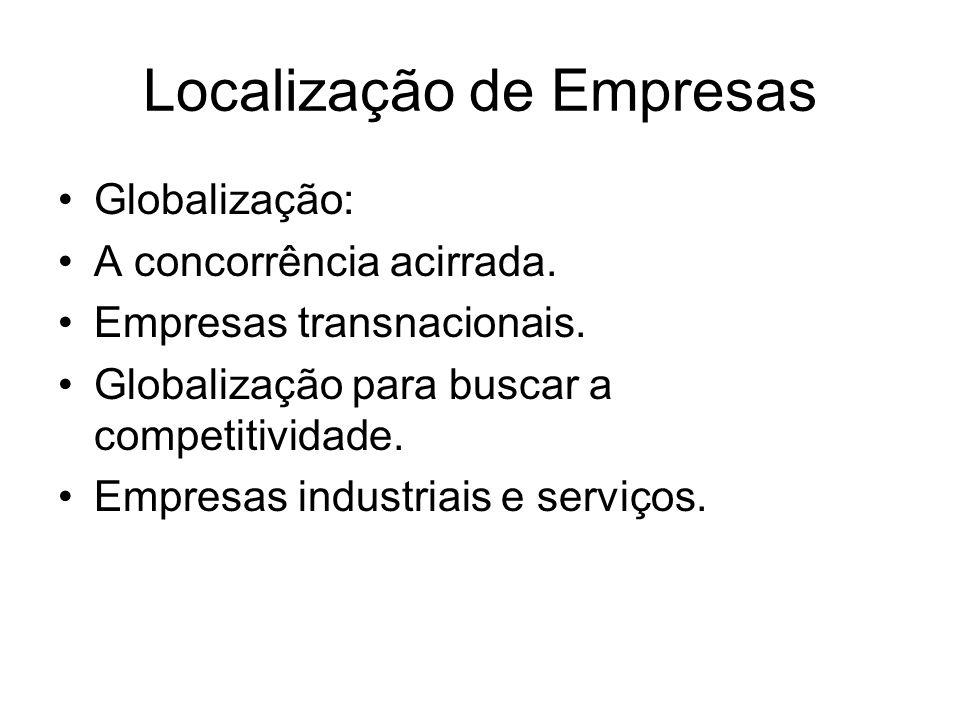 Localização de Empresas Globalização: A concorrência acirrada. Empresas transnacionais. Globalização para buscar a competitividade. Empresas industria