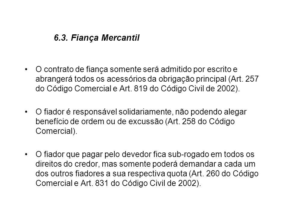 6.3. Fiança Mercantil O contrato de fiança somente será admitido por escrito e abrangerá todos os acessórios da obrigação principal (Art. 257 do Códig