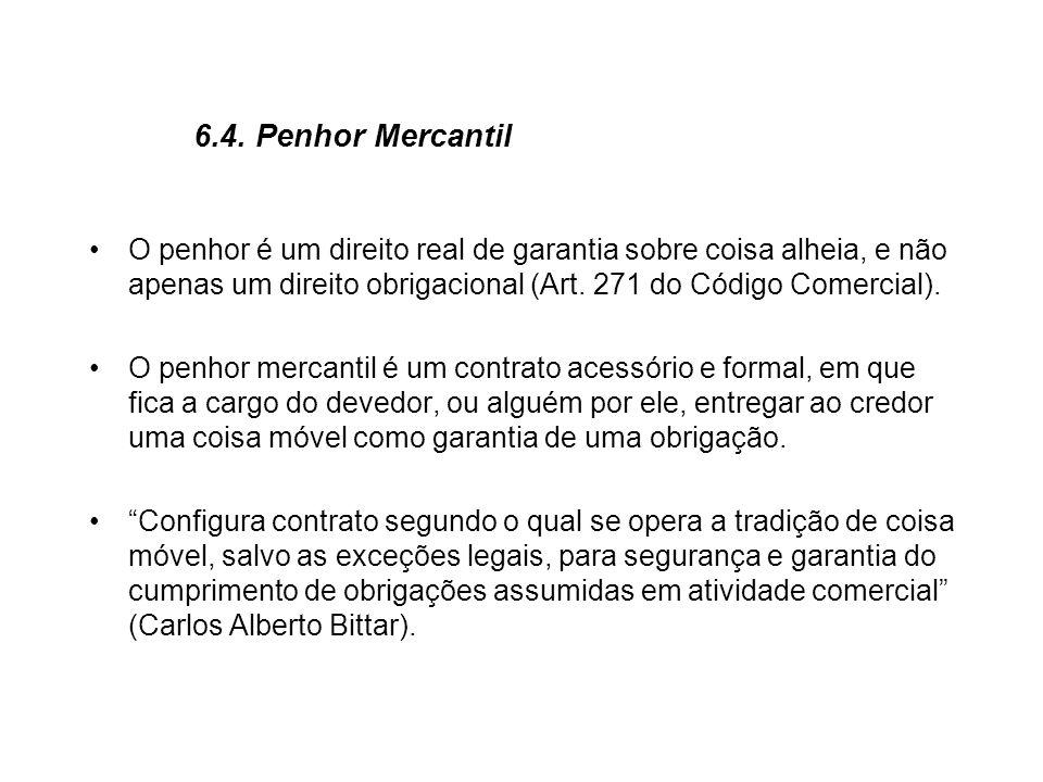 6.4. Penhor Mercantil O penhor é um direito real de garantia sobre coisa alheia, e não apenas um direito obrigacional (Art. 271 do Código Comercial).