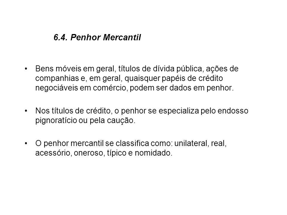 6.4. Penhor Mercantil Bens móveis em geral, títulos de dívida pública, ações de companhias e, em geral, quaisquer papéis de crédito negociáveis em com
