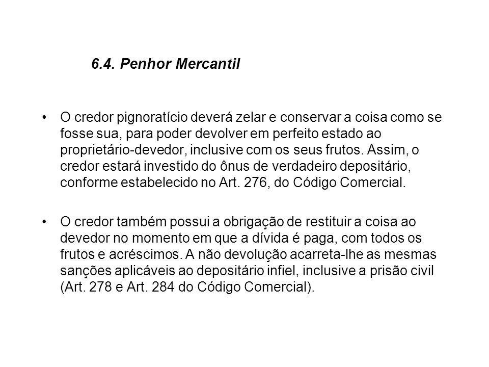 6.4. Penhor Mercantil O credor pignoratício deverá zelar e conservar a coisa como se fosse sua, para poder devolver em perfeito estado ao proprietário
