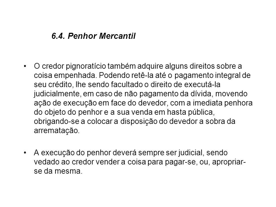 6.4. Penhor Mercantil O credor pignoratício também adquire alguns direitos sobre a coisa empenhada. Podendo retê-la até o pagamento integral de seu cr