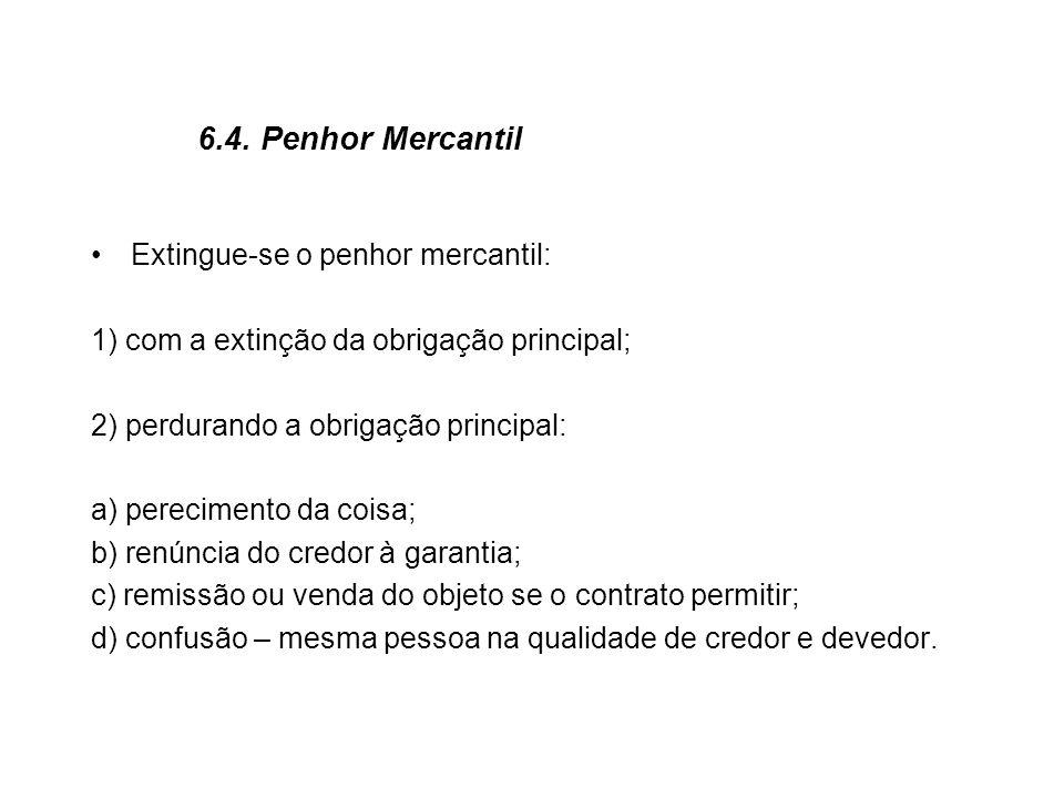 6.4. Penhor Mercantil Extingue-se o penhor mercantil: 1) com a extinção da obrigação principal; 2) perdurando a obrigação principal: a) perecimento da