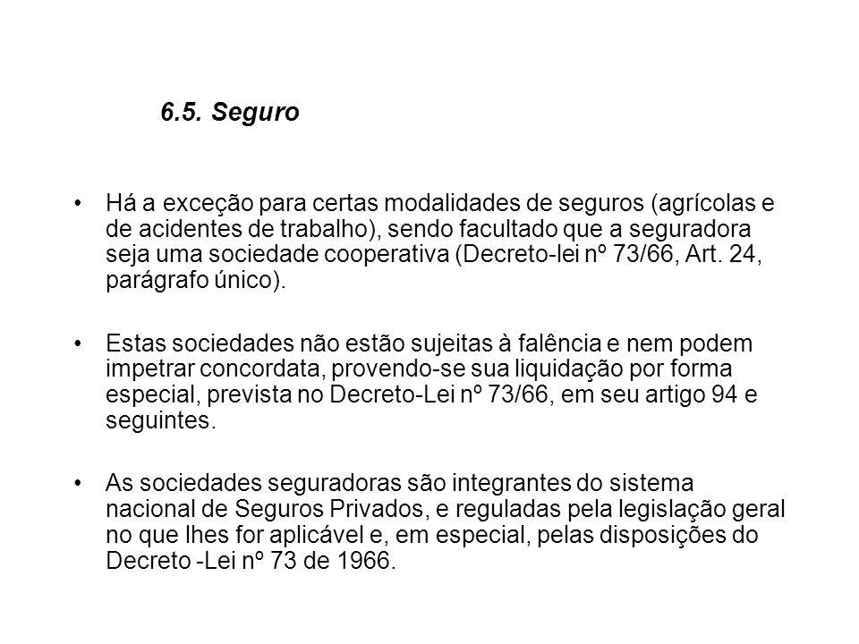 6.5. Seguro Há a exceção para certas modalidades de seguros (agrícolas e de acidentes de trabalho), sendo facultado que a seguradora seja uma sociedad