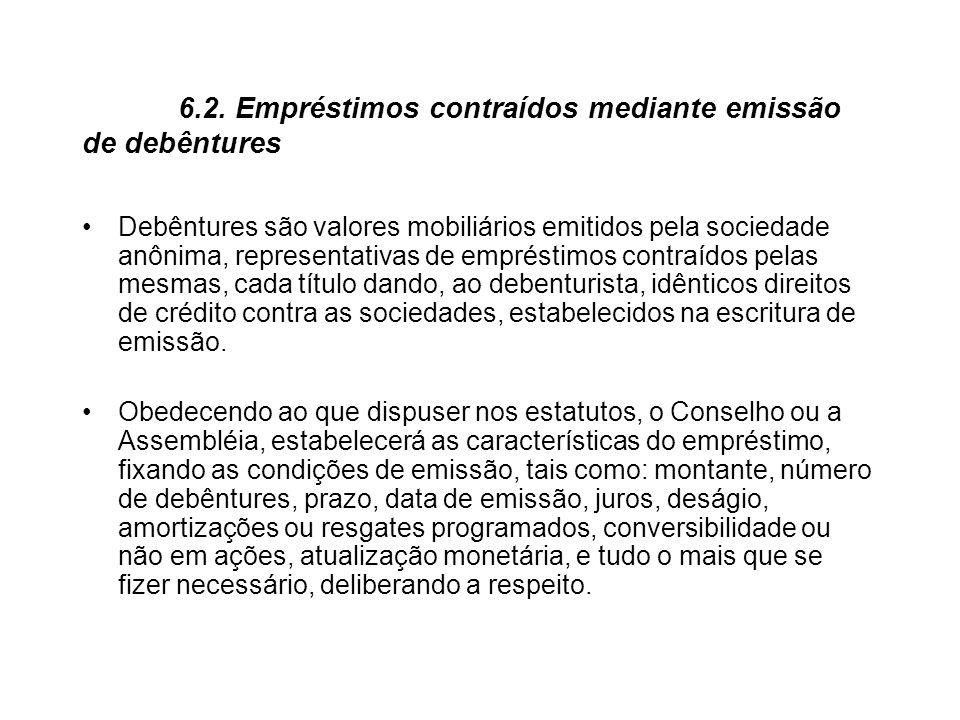 6.2. Empréstimos contraídos mediante emissão de debêntures Debêntures são valores mobiliários emitidos pela sociedade anônima, representativas de empr
