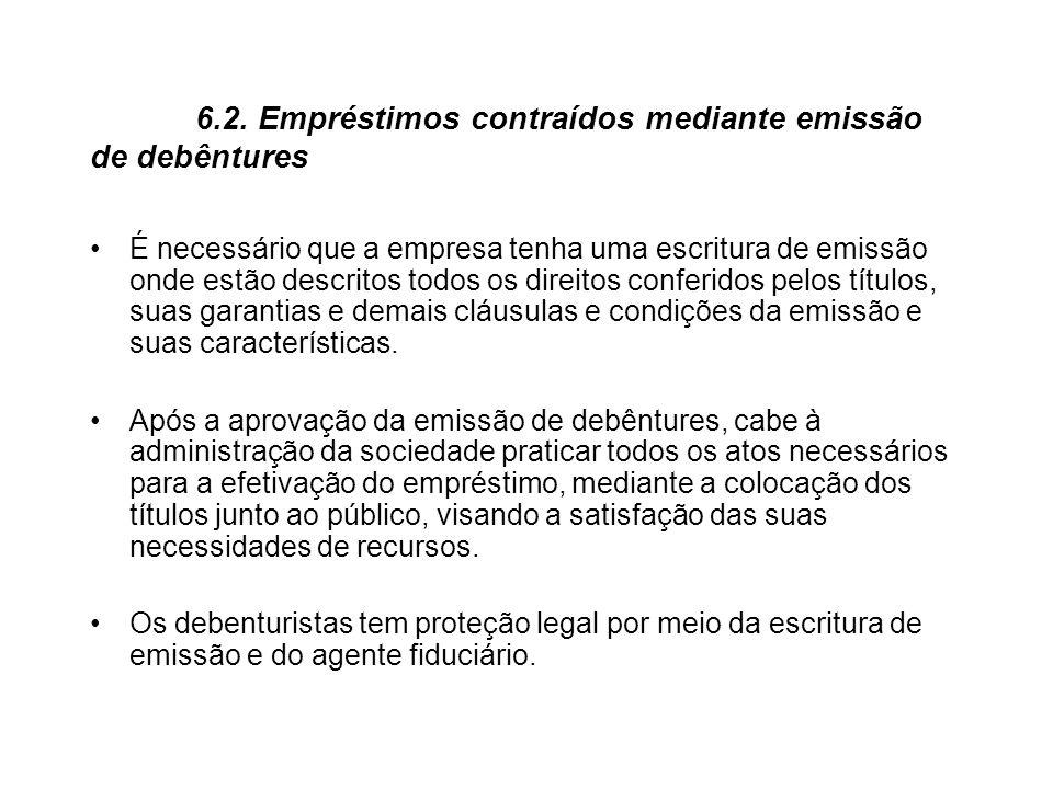 6.2. Empréstimos contraídos mediante emissão de debêntures É necessário que a empresa tenha uma escritura de emissão onde estão descritos todos os dir