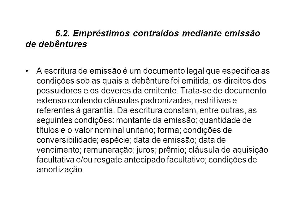 6.2. Empréstimos contraídos mediante emissão de debêntures A escritura de emissão é um documento legal que especifica as condições sob as quais a debê