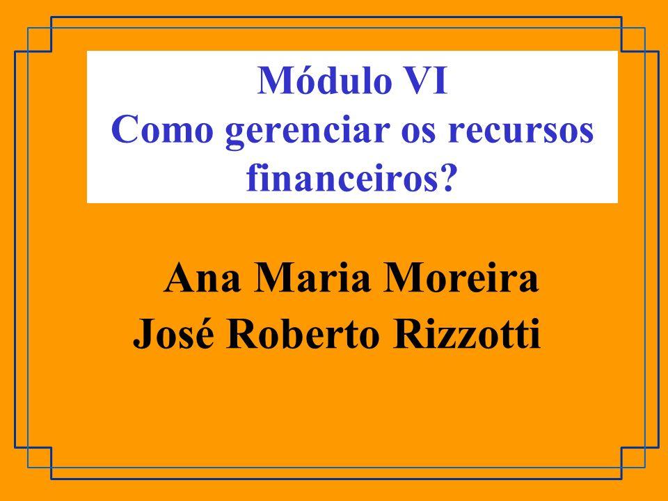 Módulo VI Como gerenciar os recursos financeiros? Ana Maria Moreira José Roberto Rizzotti
