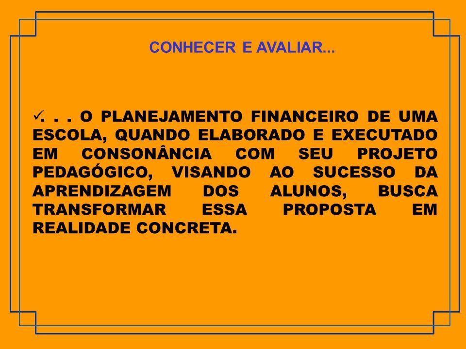 ... O PLANEJAMENTO FINANCEIRO DE UMA ESCOLA, QUANDO ELABORADO E EXECUTADO EM CONSONÂNCIA COM SEU PROJETO PEDAGÓGICO, VISANDO AO SUCESSO DA APRENDIZAGE