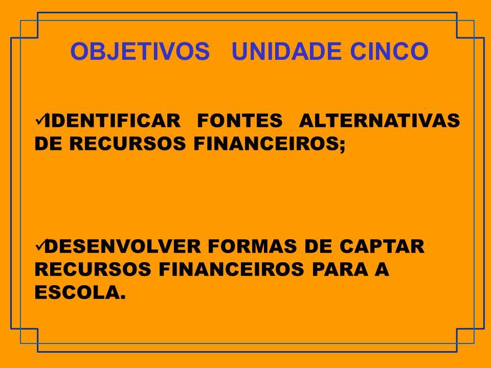 IDENTIFICAR FONTES ALTERNATIVAS DE RECURSOS FINANCEIROS; DESENVOLVER FORMAS DE CAPTAR RECURSOS FINANCEIROS PARA A ESCOLA. OBJETIVOS UNIDADE CINCO