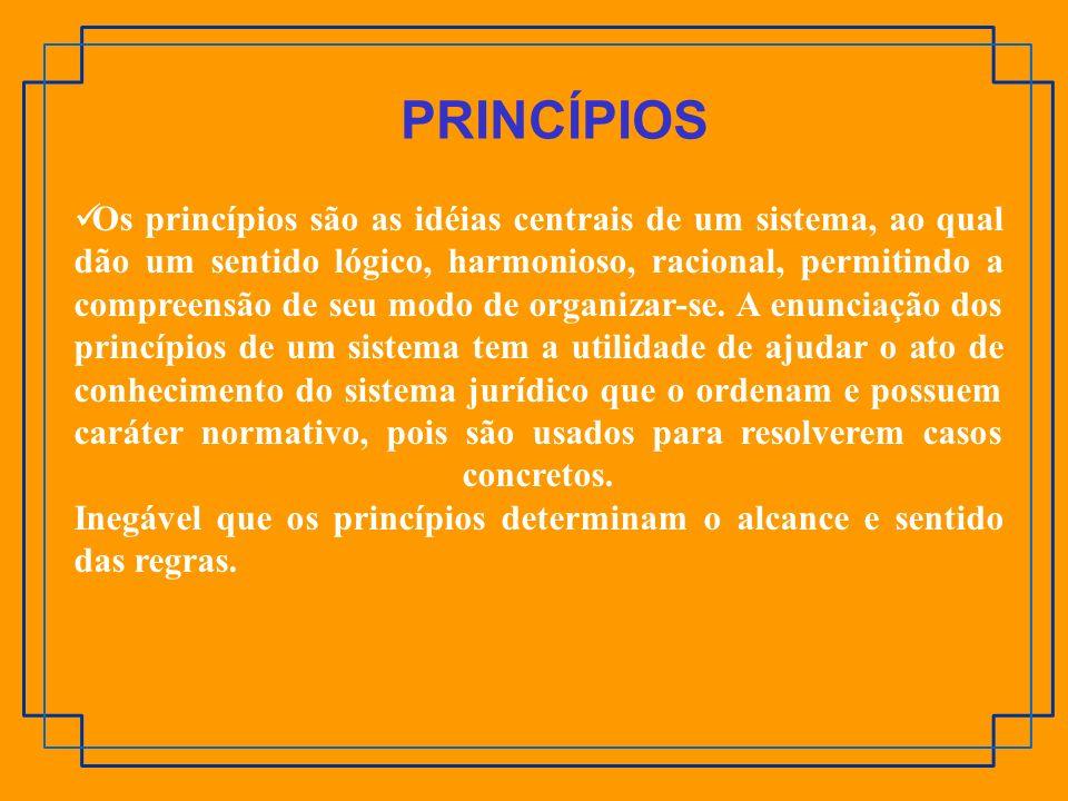 Os princípios são as idéias centrais de um sistema, ao qual dão um sentido lógico, harmonioso, racional, permitindo a compreensão de seu modo de organ