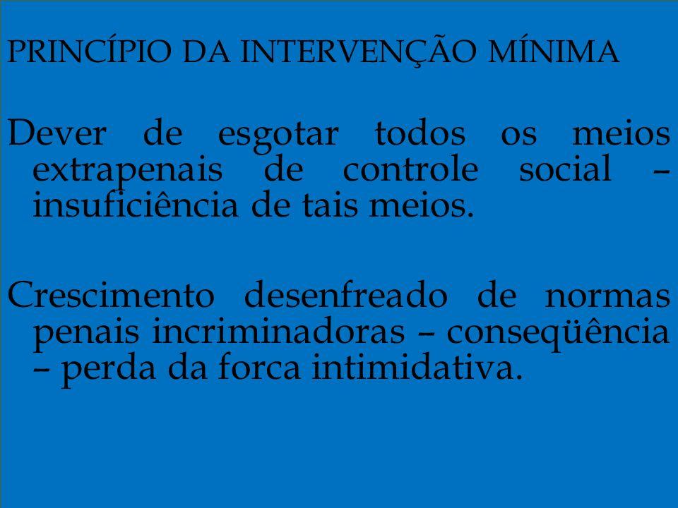 PRINCÍPIO DA INTERVENÇÃO MÍNIMA Dever de esgotar todos os meios extrapenais de controle social – insuficiência de tais meios.