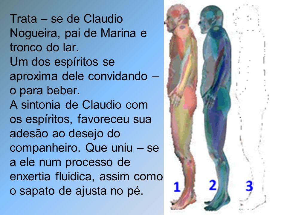 Trata – se de Claudio Nogueira, pai de Marina e tronco do lar. Um dos espíritos se aproxima dele convidando – o para beber. A sintonia de Claudio com