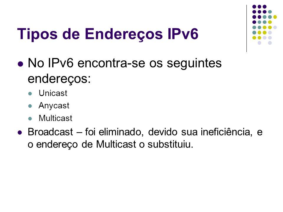 IPv4 compatível com IPv6 Esse tipo de endereço é usado em IPv6 como um mecanismo de transição entre IPv6 e IPv4.